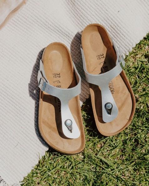 Birkenstock Gizeh Birko-Flor Sandal  -  silver