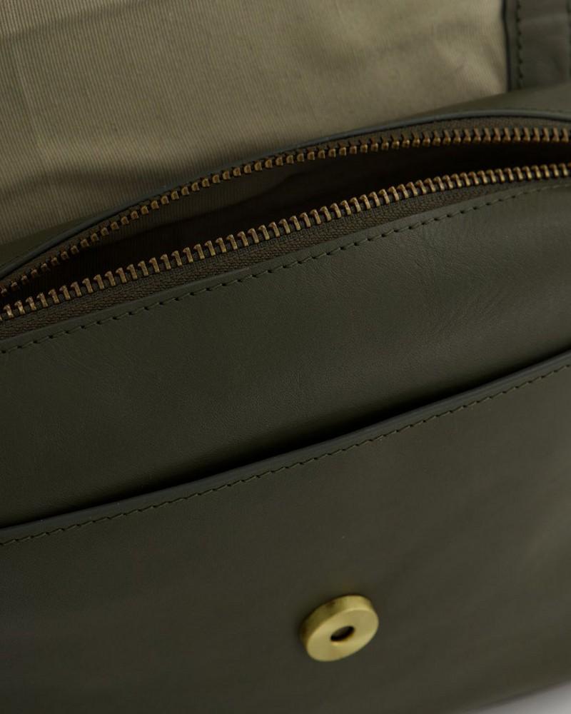 Alisha Saddle Cross Body Bag -  olive