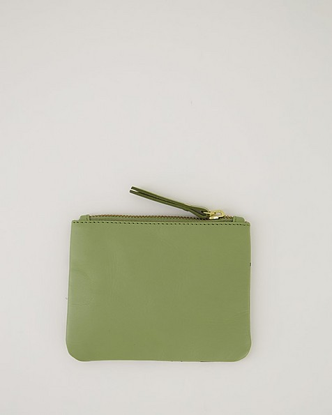 Moira Printed Leather Pouch -  green