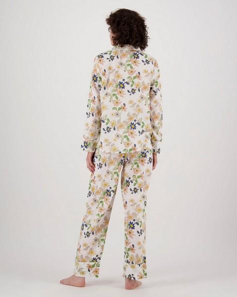 Raelynn Floral Long Pyjama Set -  white