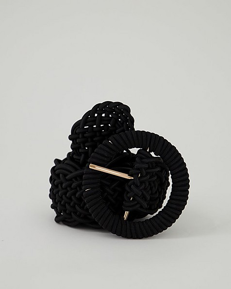Kiah Plaited Rope Belt -  black