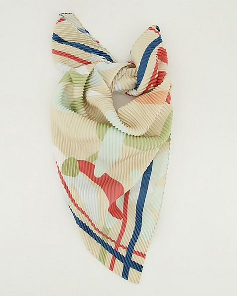 Mila Pleated Floral Scarf -  camel