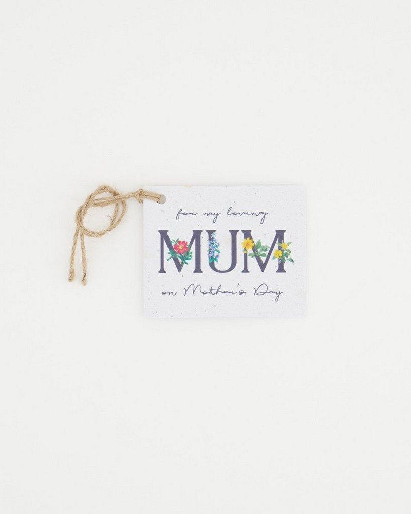Growing Paper Mum Tag -  assorted
