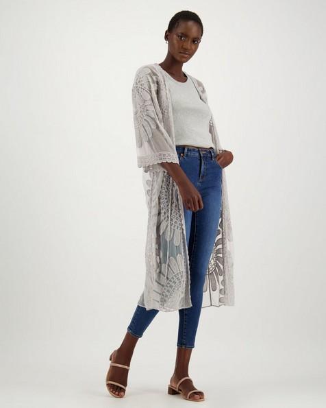 Keziah Mesh Embroidered Kimono -  grey
