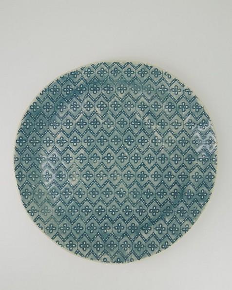 Wonki Ware Patterned Cake Plate -  teal