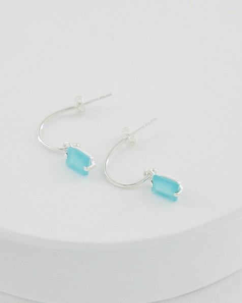 Aqua Chalcedony and Silver Drop Earrings -  aqua