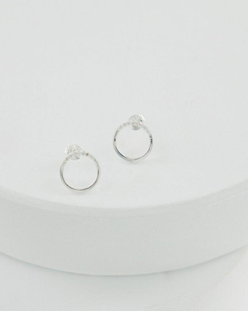 Silver Circle Stud Earrings -  silver