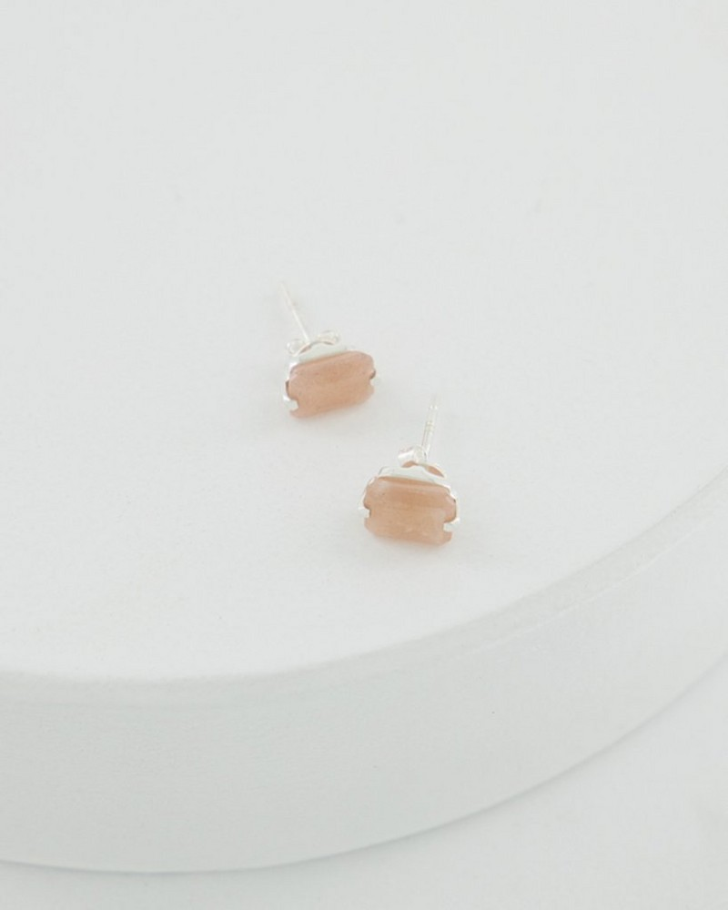 Rectangular Peach Moonstone Silver Stud Earrings -  pink