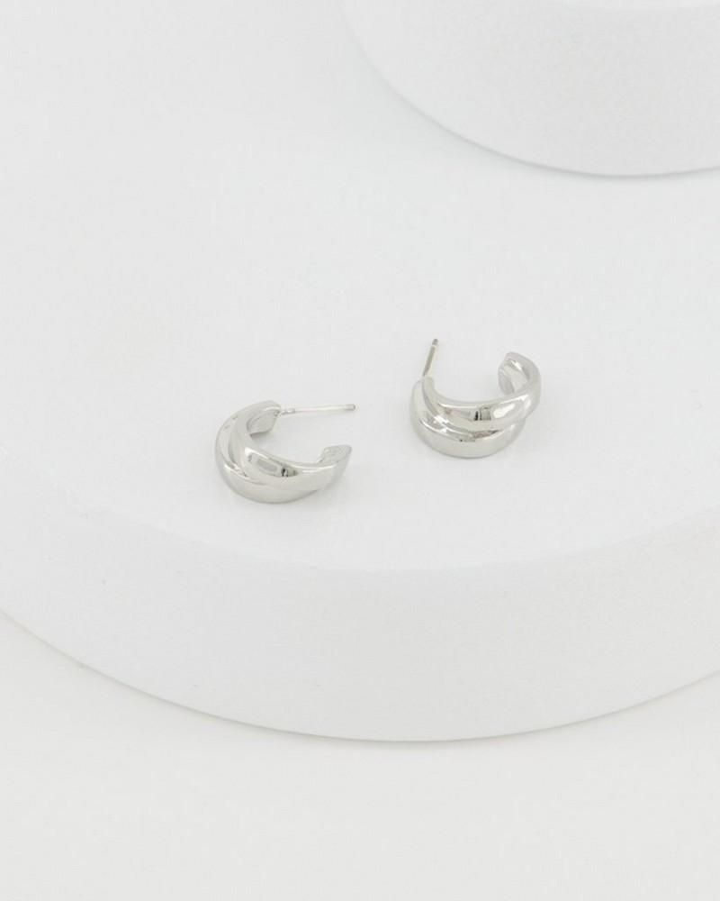 Double Strand Hoop Earrings -  silver