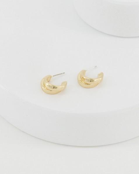 Double Strand Hoop Earrings -  gold