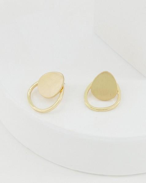 Metal Disc Stud Earrings -  gold