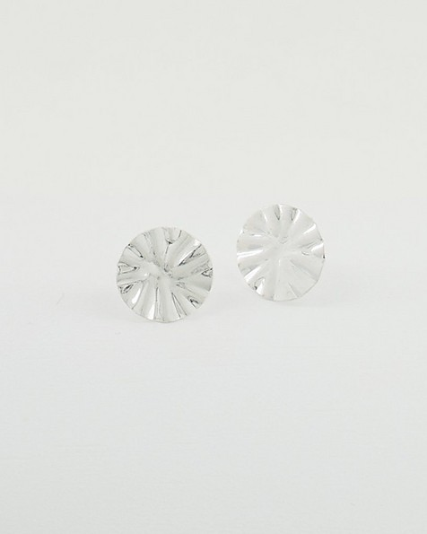 Pleated Disk Stud Earrings -  silver