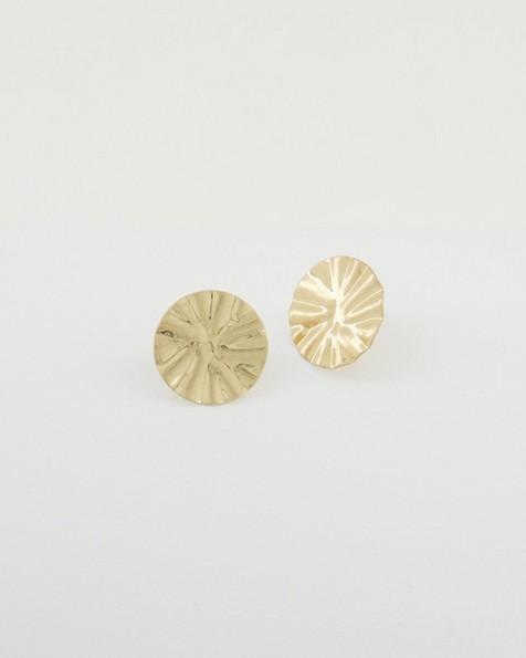 Pleated Disk Stud Earrings -  gold