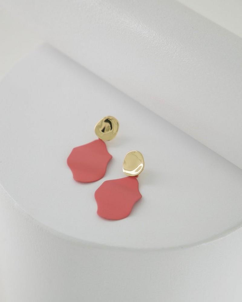 Folded Epoxy Double Disk Drop Earrings -  coral