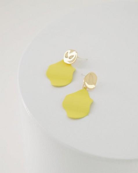 Folded Epoxy Double Disk Drop Earrings -  yellow