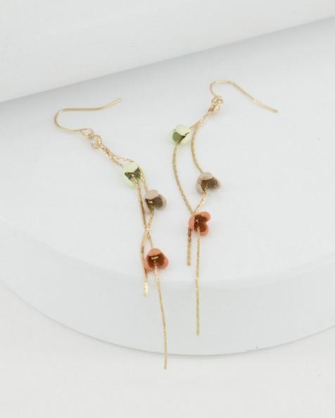 Long Falling Flowers Earrings -  coral