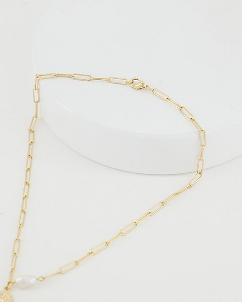 Delicate Chain & Pearl Necklace -  milk