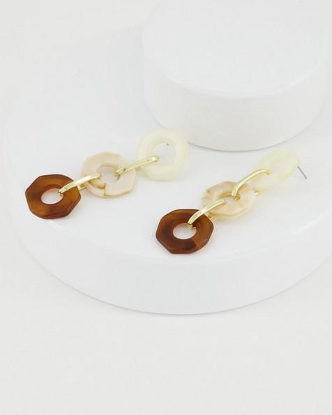 Octagonal Resin Link Earrings -  white