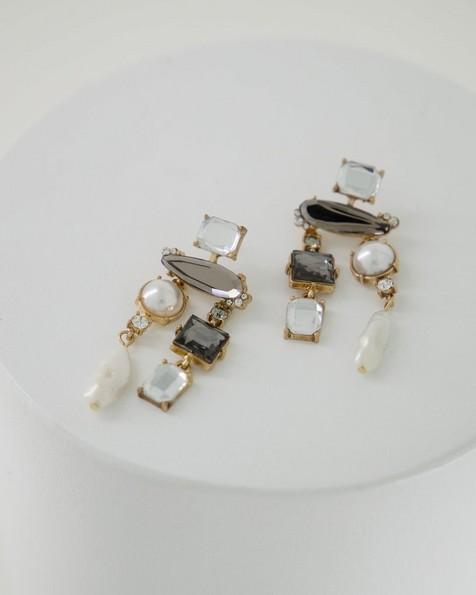 Assorted Stone Earrings -  grey
