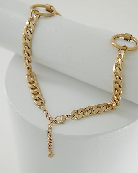 Circle Chain Link Bib Necklace -  gold