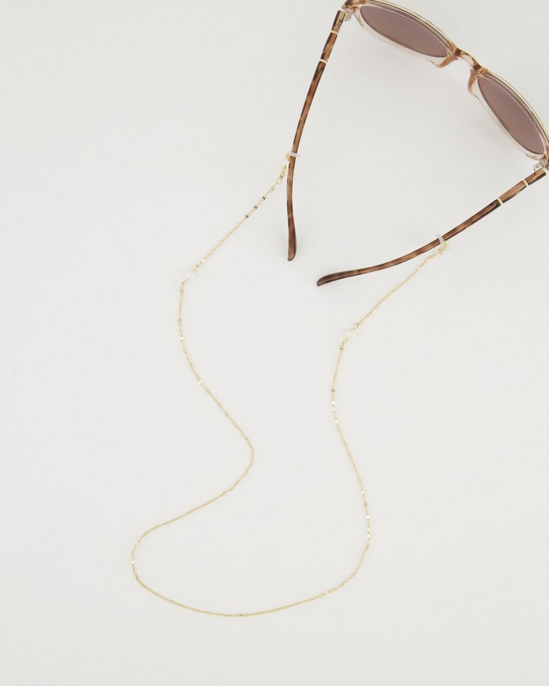 Freshwater Pearl Mask Chain  -  gold