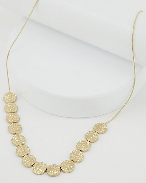 Long Textured Disk Necklace -  gold