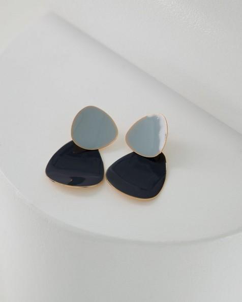 Shiny Epoxy Organic Drop Earrings -  blue