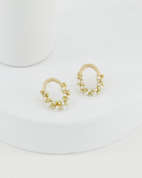 Beaded Clustered Stud Earrings -  milk