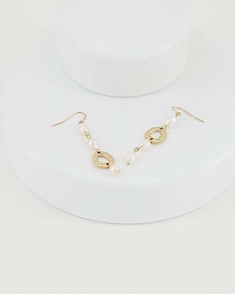 Asymmetric Linear Drop Pearl Earrings -  milk