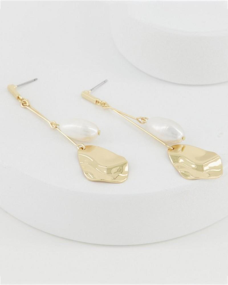 Bar Pearl and Disk Earrings -  milk