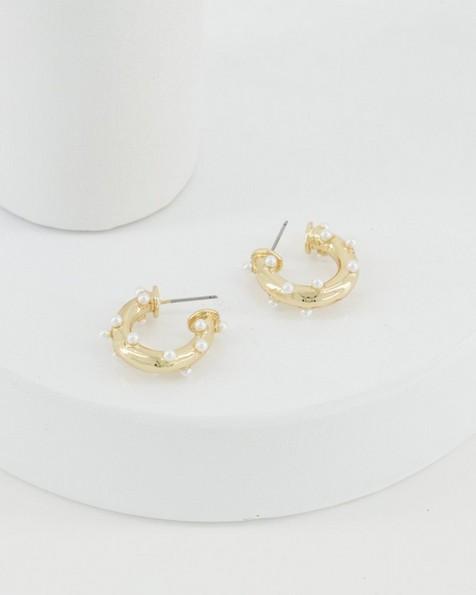 Pearl Dotted Hoop Earrings -  milk