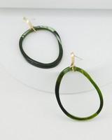 Organic Outlined Link Drop Earrings -  green