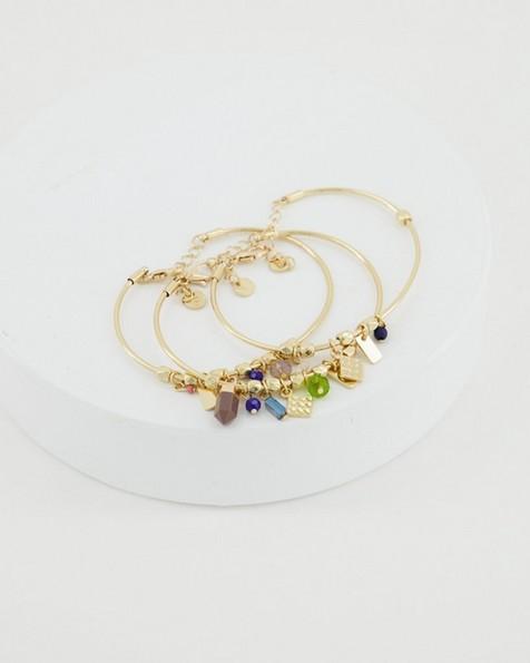 3-Strand Metal Charm Bracelet -  green