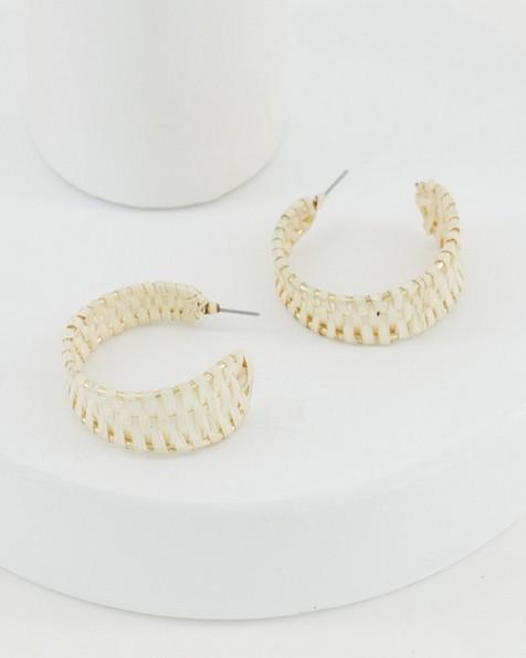 Straw Hoop Earrings -  oatmeal