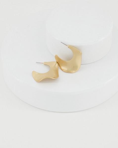 Wavy Brushed Hoop Earrings -  gold