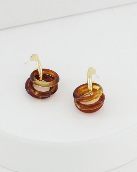 Resin Ring Hoop Drop Earrings -  brown