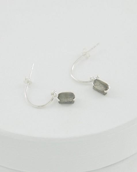 Labradorite and Silver Drop Earrings -  lightgrey