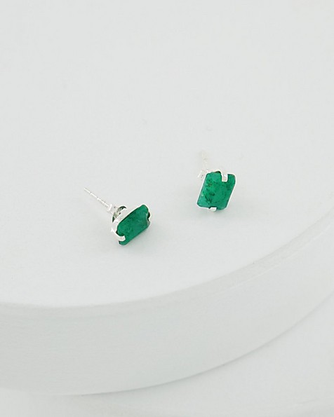 Rectangular Emerald Silver Stud Earrings -  emerald