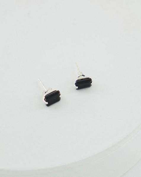Black Onyx & Silver Stud Earrings -  black