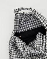 Renita Ruched Fabric Tote Bag -  black