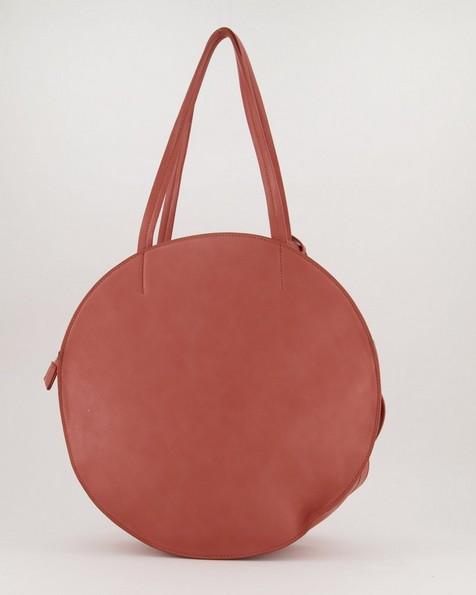 Angelina Vegan Leather Round Bag -  coral