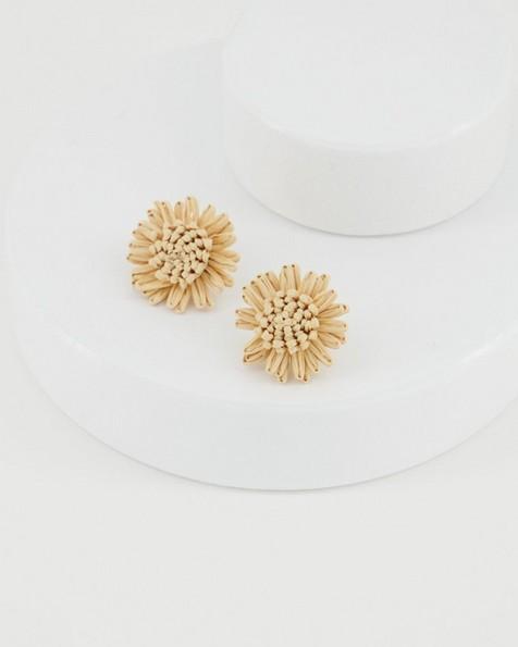 Straw Flower Stud Earrings -  oatmeal