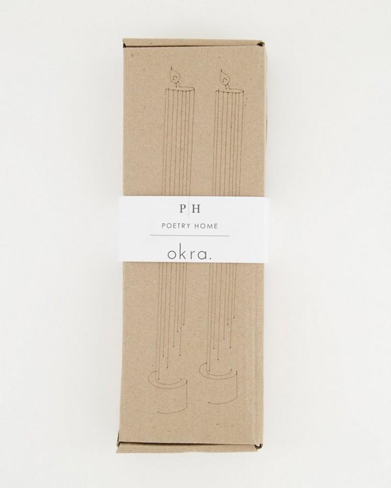 Okra 2-Pack Vintage Gear Candle Gift Set  -  bone