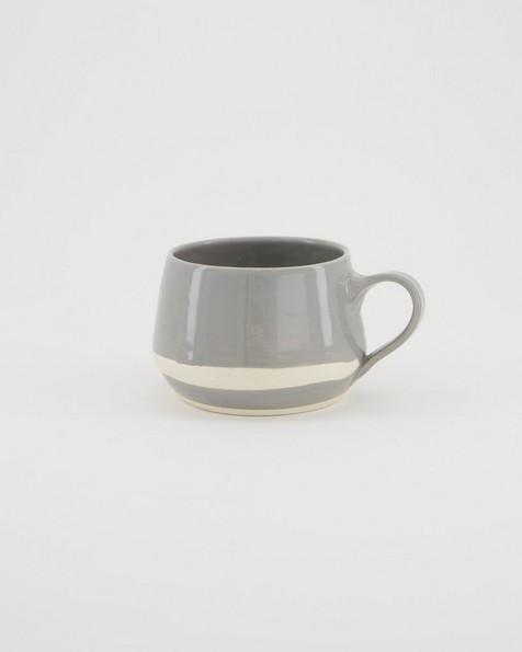 Wonki Grey Stripe Squat Mug -  grey