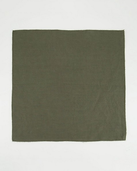 Set of Four Poetry Home Linen Napkins -  olive