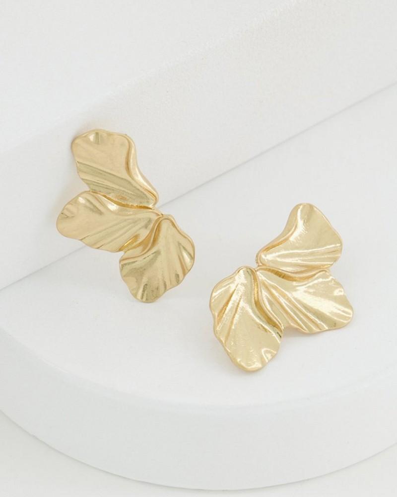 Textured Oversized Petal Earrings -  gold