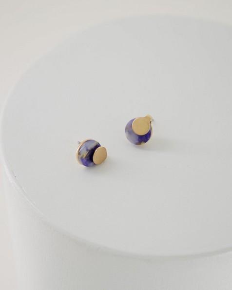 Overlapped Metal & Resin Stud Earrings -  midblue