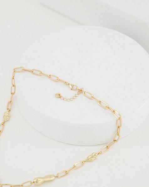 Chain Link & Pearl Satellite Necklace  -  milk
