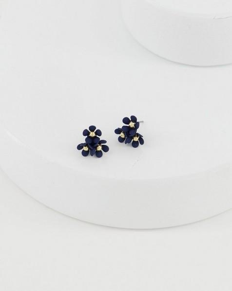 Trio Cluster Flower Stud Earrings -  navy