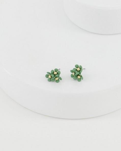 Trio Cluster Flower Stud Earrings -  sage